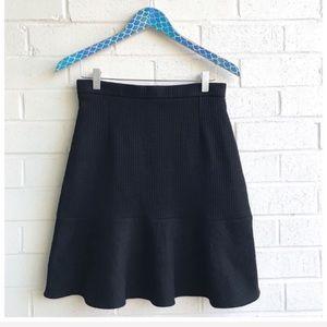 NWT Carven Black Ribbed Peplum Flare Mini Skirt